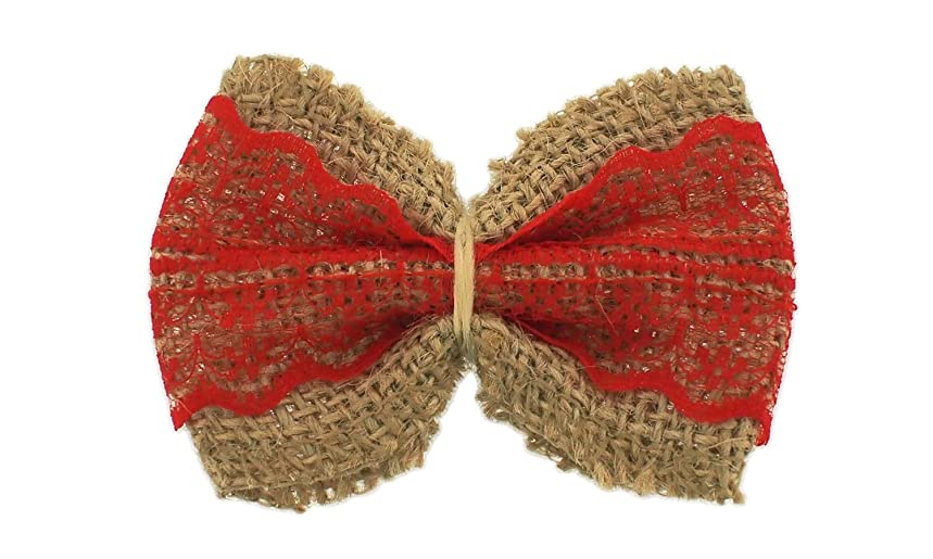 Trimweaver 5 Piece Pre-Made Natural Burlap with Red Lace Ribbon Bow for Craft, 2.5 x 3.0