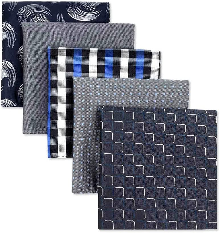 SLATIOM 5 Pieces Colorful Assorted Mens Pocket Square Silk Classic Handkerchief Set Gift Colorful (Color : A, Size : 32x32CM)