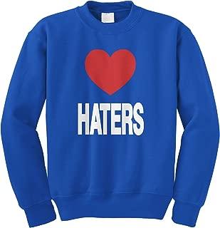 Love Haters, Funny Red Heart Crewneck Sweatshirt