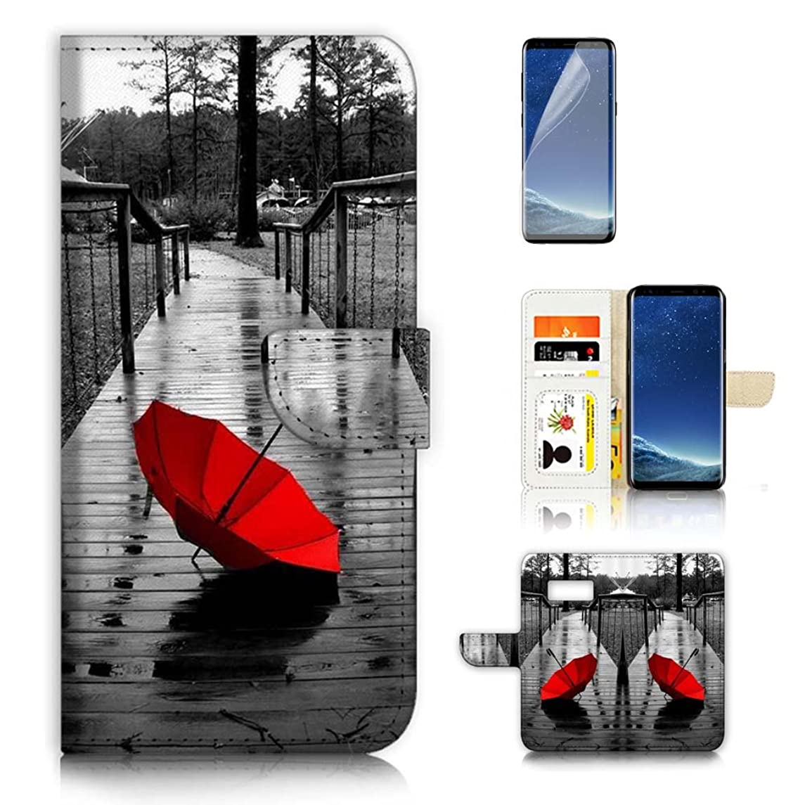 ( For Samsung S8 , Galaxy S8 ) Flip Wallet Case Cover & Screen Protector Bundle - A20112 Red Umbrella
