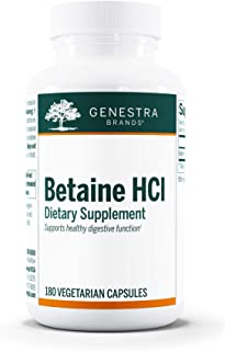 Genestra Brands - Betaine HCl - Betaine Hydrochloride Supplement for Protein Digestion - 180 Capsules