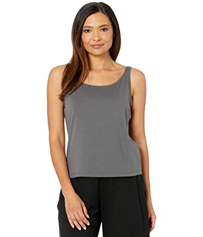 Eileen Fisher Fine Jersey Scoop Neck Slim Shell (Slate) Women