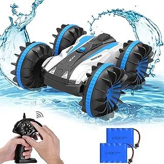 Allcaca ラジコン カー 四駆 水陸 両用 スタントカー 360回転 両面走行 特技を持つ 子供 玩具 贈り物 ブルー