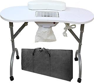 Beltom Mesa para manicura Plegable, con Aspirador, reposamuñecas y Bolsa de Transporte
