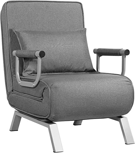 wholesale Giantex Convertible Sofa Bed Sleeper Chair, 5 Position Adjustable Backrest, Folding Arm Chair Sleeper w/Pillow, Upholstered Seat, Leisure Chaise 2021 Lounge Couch for Home Office outlet online sale (Gray) outlet sale