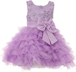c645b26794c Cinderella Couture Baby Girls Lilac Sequin Pearl Multi Layer Ruffle Bow  Flower Girl Dress 6-