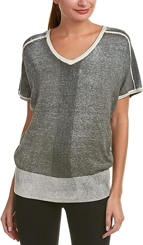 Blanc Noir Women's Short Sleeve Pigment Print Sweater