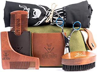 Alpha Vikings Beard Care Grooming Kit for Men. Maple Wood Beard Brush, Barber Scissors, Beard Shaper, Apron, Wooden Comb with Leather Pouch. Comes with a Stylish Canvas Bag for Beard Growth Lovers