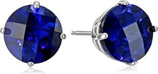 10K Gold Round Checkerboard Created or Genuine Gemstone Stud Earrings