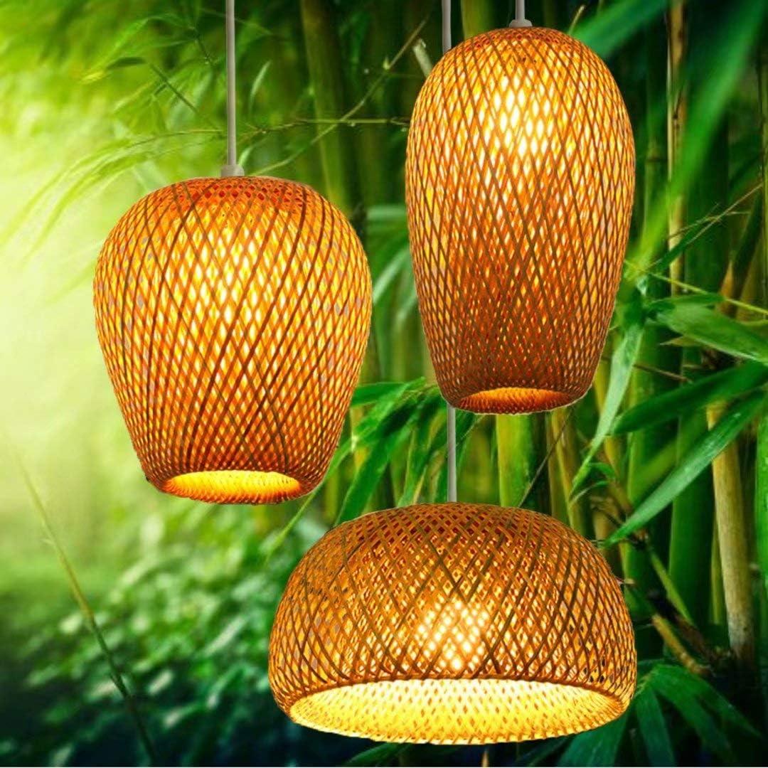 Lámpara de techo de bambú tejida a mano, doble capa, pantalla de bambú tejida, lámpara de techo hueco, lámpara de techo para bar, café, comedor, hotel, estilo 1
