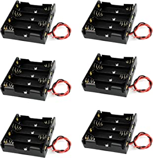 Battery Case Holder Box 4 x 1.5V AA Battery with Black and Red Wire Leads (6 Pcs)