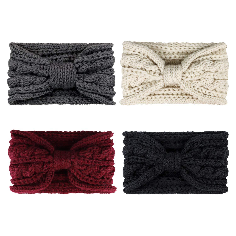 DRESHOW Chunky Headbands for Women Crochet Turban Knitted Ear Warmer
