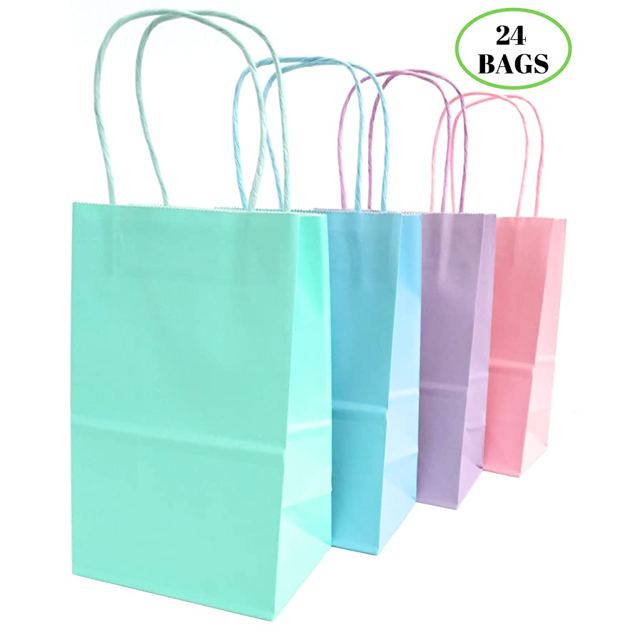 Kelkaa Party Kraft Bags 24pcs 5.25x3.5x8.5 Inches, Paper Bags with Handles for Birthday, Wedding Party Favors, Bachelorette Party,Tote Bags for Party Themes, Pastel Pink, Blue, Green, Purple (Small)