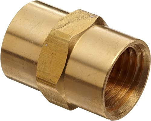 """Anderson Metals - 56103-02 Brass Pipe Fitting, Coupling, 1/8"""" x 1/8"""" Female Pipe"""