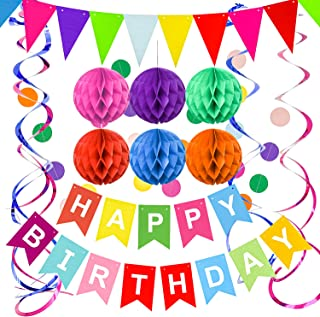Happy Birthday Banner by Sunbrisa – Rainbow Birthday Party Decorations for Girls Boys and Adults – Birthday Party Supplies...