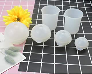 WeiMeet 4 Pieces Sphere Silicone Molds Resin Casting Molds with 2 Pieces Silicone Measuring Cup for Resin Casting Concrete Cement Craft Making