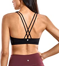 CRZ YOGA Women's Low Impact Wirefree Padded Yoga Sports Bra Strappy Back Activewear for Women