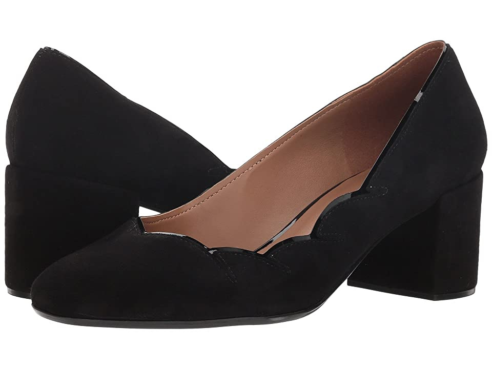 French Sole Couplet Heel (Black Suede) Women