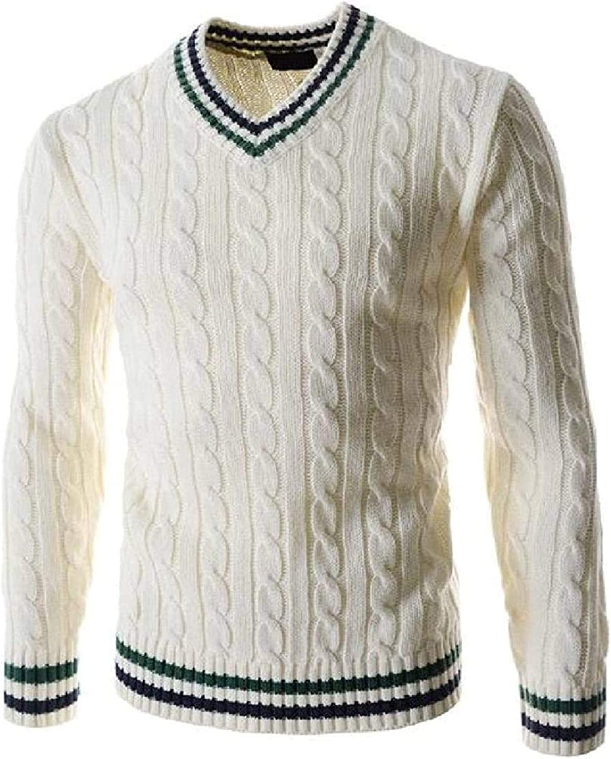 Men Slim Fit V-Neck Cable Knitted Long Sleeve Jumper Pullover Sweater