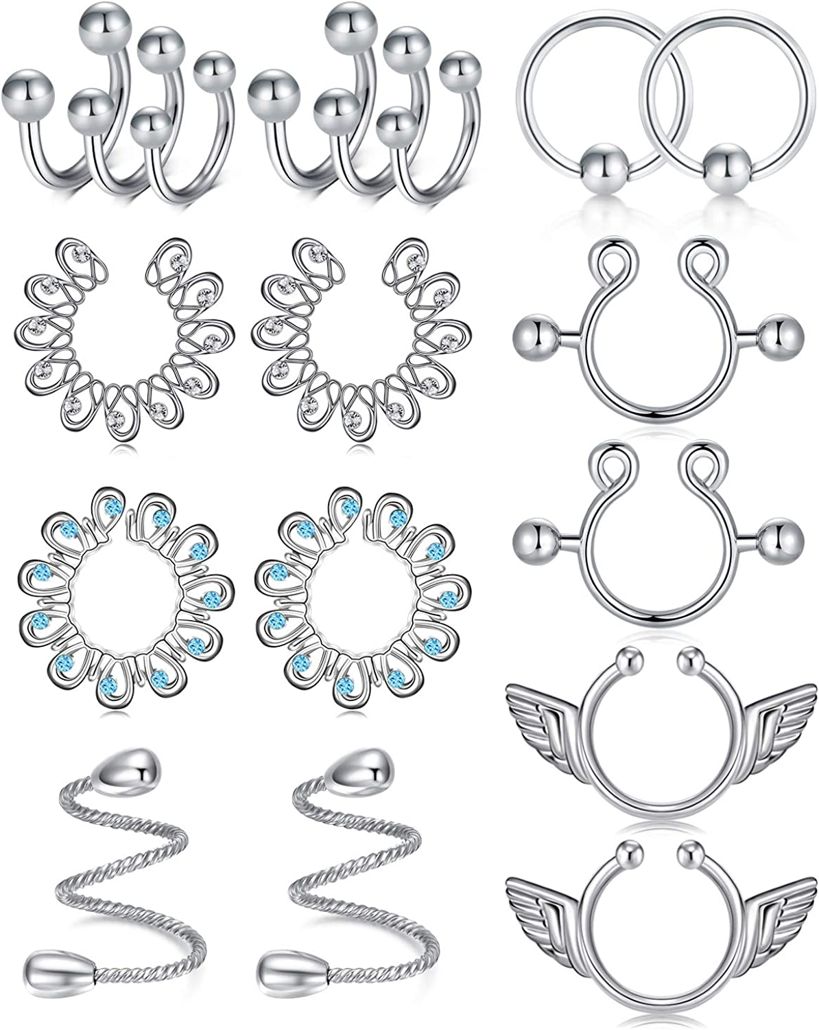 LAURITAMI Faux Max 70% OFF Nipple Rings Non Ranking integrated 1st place Women Piercing Body Jewelry for