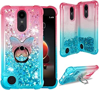 LG Stylo 3 Case, LG Stylo 3 Plus Protective Clear Liquid Waterfall Case [Liquid Quicksand Glitter Sparkly Bling] Soft Shockproof TPU Cover [Phone Ring Holder] by ZASE (Gradient Pink Aqua)