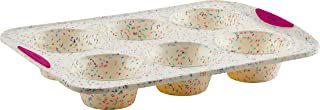 Trudeau Structure White Confetti Reinforced 6 Cup Jumbo Muffin Pan Silicone Bakeware