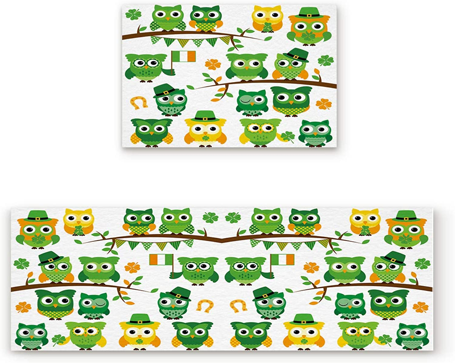 Findamy Non-Slip Indoor Door Mat Entrance Rug Rectangle Absorbent Moisture Floor Carpet for St. Patrick's Day Irish Owls with Leprechaun Hats on Trees Doormat 19.7x31.5In+19.7x63In