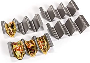 U-Taste Taco Holder Stand Set, 18/8 Stainless Steel Taco Shell Tortilla Rack Tray Plates with Handle (Set of 4)