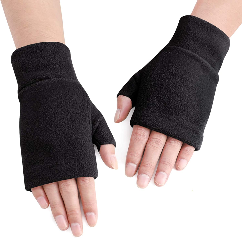 Women Men Fleece Fingerless Gloves Winter Warm Half Finger Gloves Half Mitten