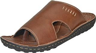 BLACK SANDS Men's Big Size Tan Leather Slipper