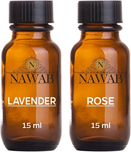 NAWAB Essential Aroma Diffuser Oil Lavender and Rose 15ml Each