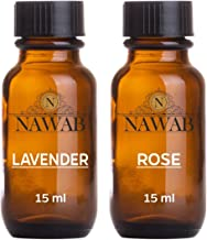 NAWAB Essential Aroma Diffuser Oil (Lavender and Rose - 15ml Each)