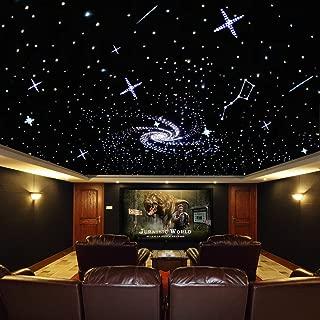 32W Coloful Twinkle LED Fiber Optic Star Ceiling Kit Light Mix 800 Strand Fiber Optical Cables (0.75mm+1mm+1.5mm) 13.1ft Long Cinema/car Fiber Optic Lights Decoration