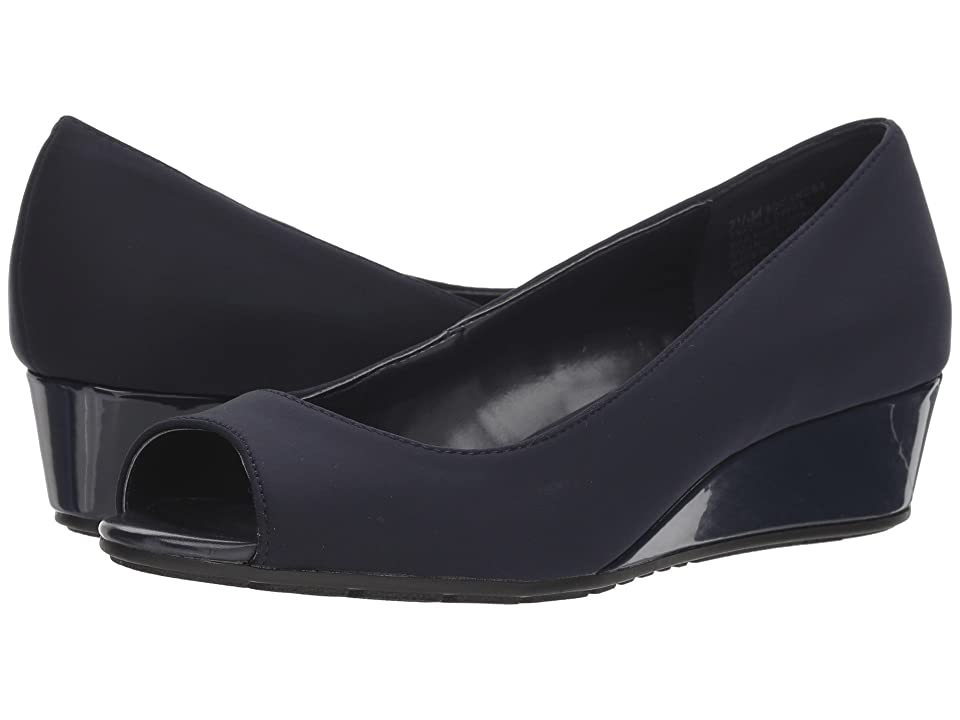 1940s Style Shoes, 40s Shoes Bandolino Candra Navy Lycra Womens Wedge Shoes $59.00 AT vintagedancer.com