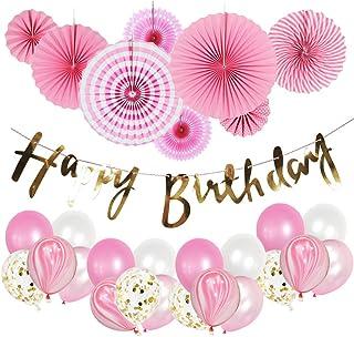 Mainiusi 風船 誕生日 飾り付け 女の子 1歳 誕生会 祝い バルーン 装飾 特大 ペーパーファン HAPPY BIRTHDAY ガーランド バースデー パーティー デコレーション ピンク セット (ピンク-09)