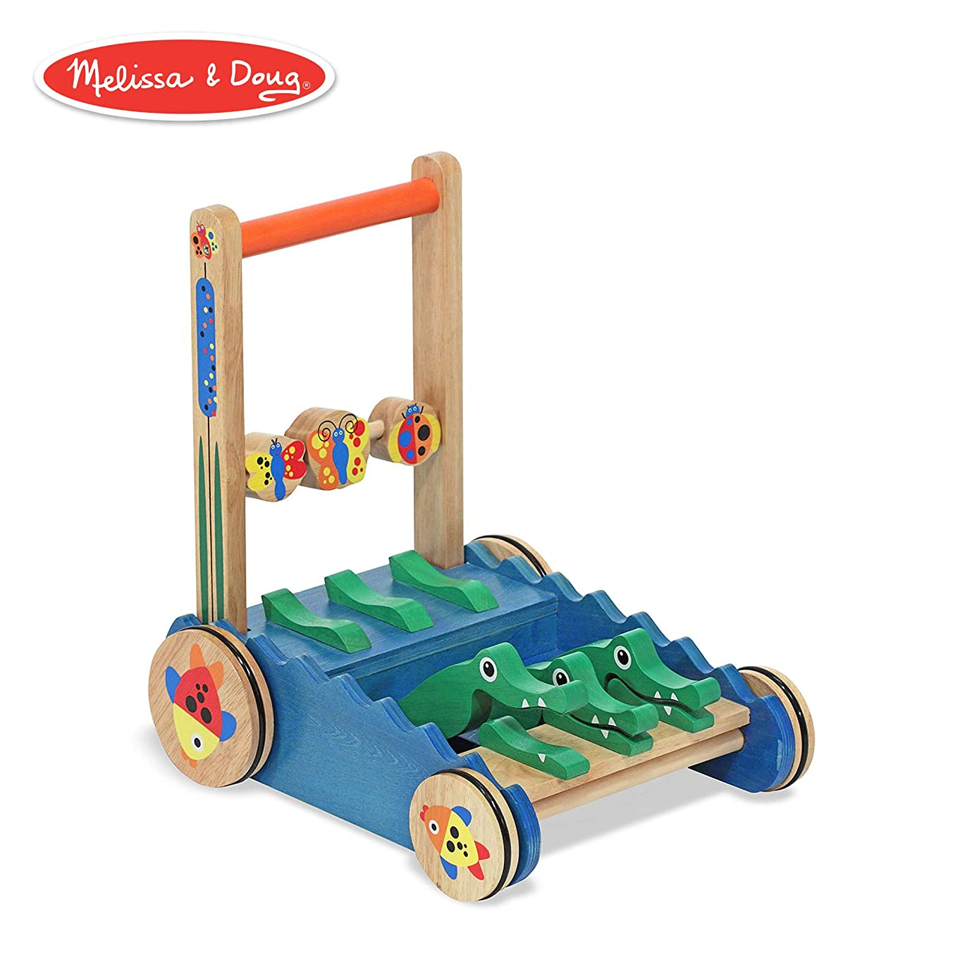 Melissa & Doug Chomp & Clack Alligator Push Toy, Wooden Activity Walker, Sturdy Construction, Makes Sounds When Pushed, 11.75″ H × 15″ W × 15″ L
