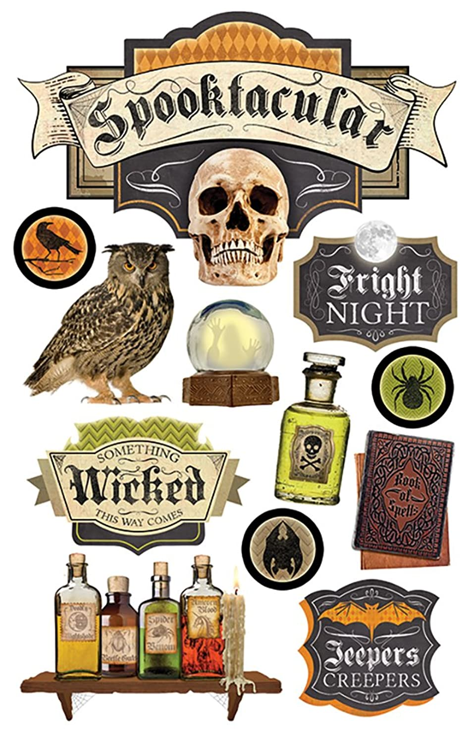 Paper House Productions STDM-0218E 3D Cardstock Stickers, Spooktacular (3-Pack)