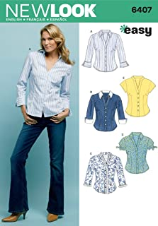 New Look Sewing Pattern 6407 Misses Tops, Size A (10-12-14-16-18-20-22)