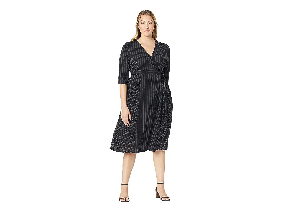 Kiyonna Harmony Faux Wrap Dress (Black/Ivory Stripe) Women
