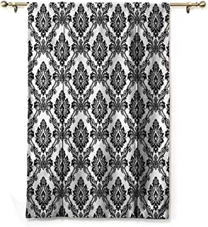 S Brave Sky Waterproof Roman Blinds,Damask Decor Collection,Antique Classical Damask Flowers Pattern Traditional Artwork Decorative Design,Black White