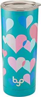 BYO Hear 5202739 Double Wall Stainless Steel Vacuum Insulated Tumbler, 20-Ounce, Teal Hearts, Assorted