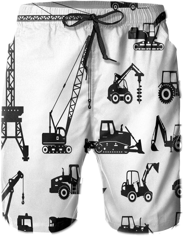 Black Silhouettes Concrete Mixer Machines Industrial Set Trucks Tractors Printed Beach Shorts for Men Swim Trucks Mesh Lining,XXL
