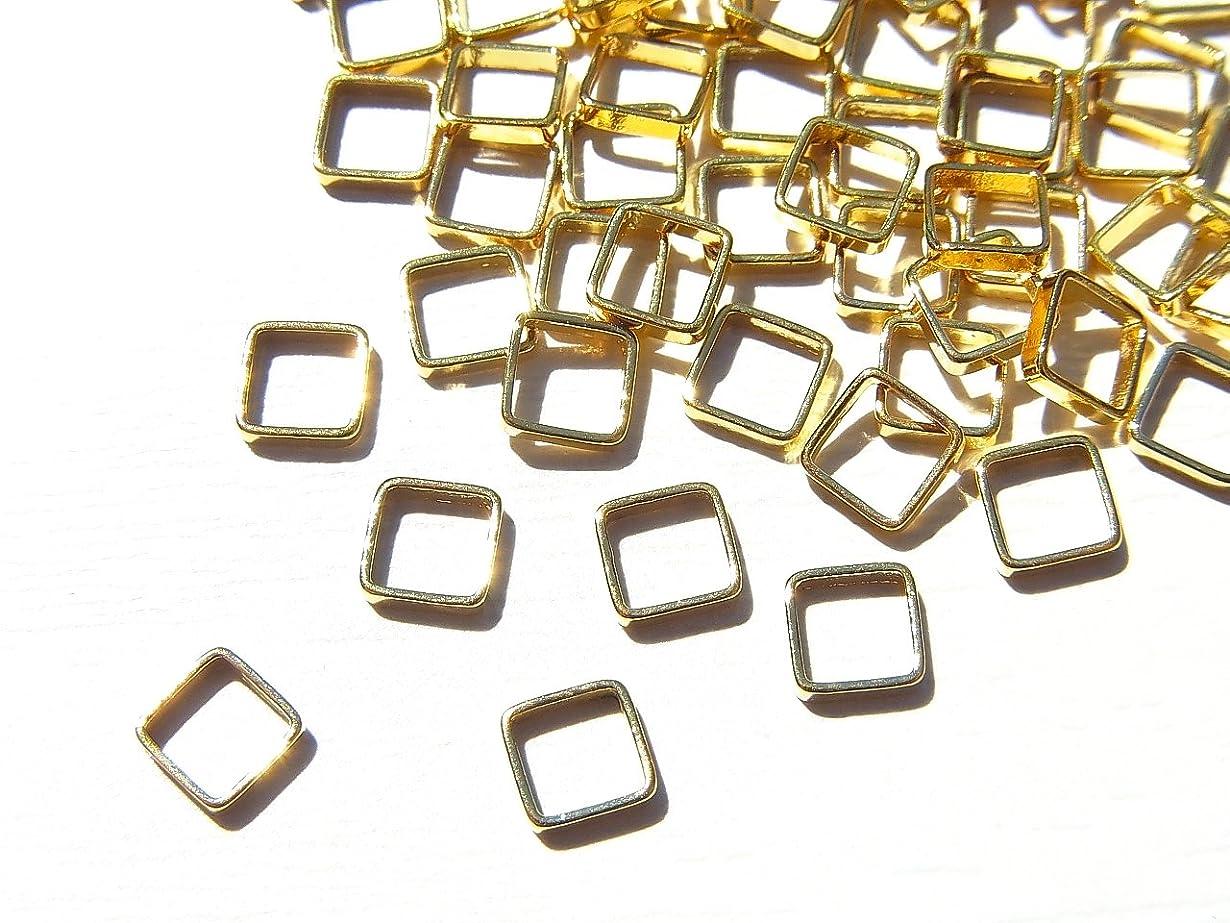 【jewel】ゴールド 立体メタルパーツ 10個入り スクエア 型 (正方形) 直径4mm 厚み1mm 手芸 材料 レジン ネイルアート パーツ 素材