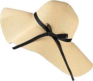 Sombrero para el Sol para Mujer, Sombrero de Paja Flexible de ala Ancha Plegable con Lazo de Lazo Encantador, Sombrero de Verano para Playa al Aire Libre Protección Anti-UV Sombrero UPF 30