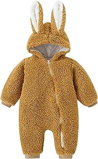 الرضع السروال القصير الوليد الطفل بنات الفتيان الأرنب الدافئة سميكة snowsuit معطف مقنعين بذلة مع الأذن (Color : Khaki, Siz...