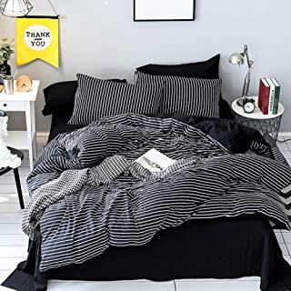 LAMEJOR Duvet Cover Set King Size Stripes Pattern Washed Microfiber Soft Reversible Bedding Set Comforter Cover (1 Duvet Cover+2 Pillowcases) Black/White