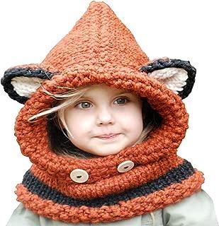 Winter Kids Crochet Cartoon Fox with Scarf Pocket Hooded Set Knitting