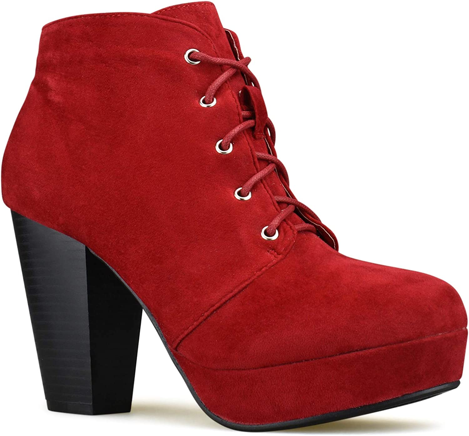 Premier Standard - Women's Strappy Buckle Block Heel Ankle Booties - Lace up Chunky Ankle Booties