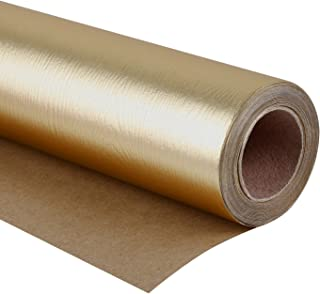 WRAPAHOLIC Gift Wrapping Paper Roll - Wood Texture Basics Matte Gold for Birthday, Holiday, Wedding, Baby Shower Gift Wrap - 30 inch x 16.5 feet