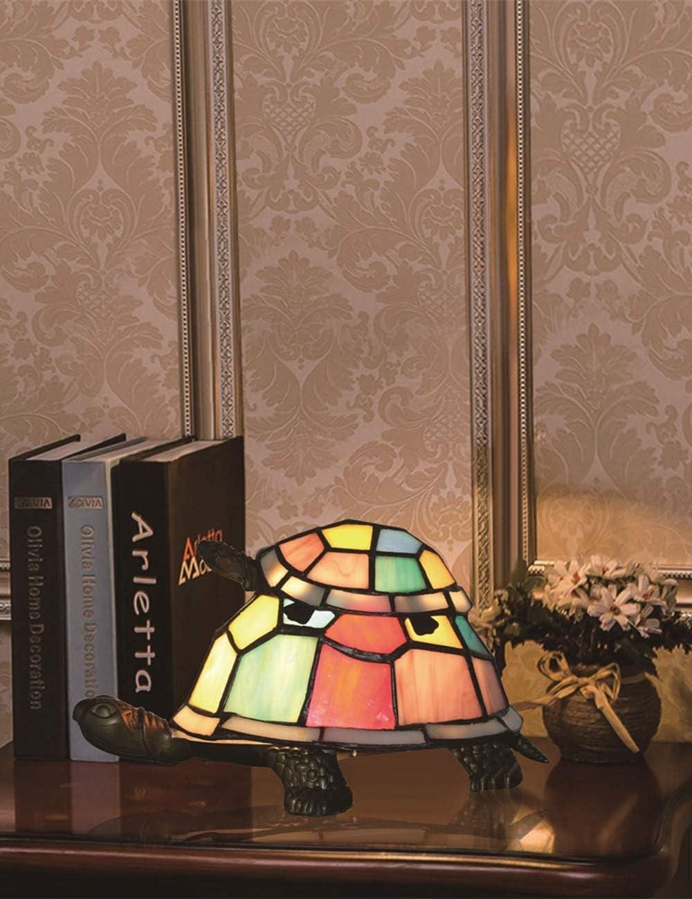 SINCESE@ Tiffany Estilo Europeo Creativo Colorido Madre y Niño Tortuga Tortuga Cuckold Lámpara de Mesa Lámpara de Regalo de Los Niños Luz de La Noche